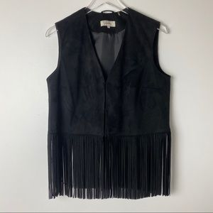 Wildflower Faux Suede Black Fringe Vest